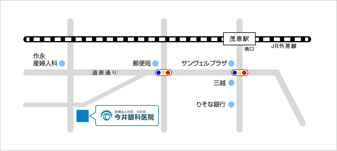今井眼科医院周辺の概略地図です。